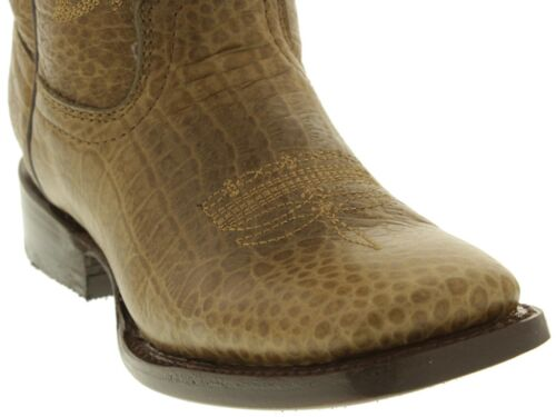 Boys Kids Real Leather Light Brown Crocodile Alligator Belly Print Square Toe
