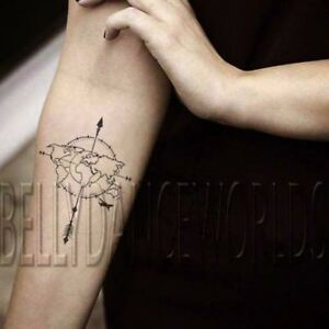 1 set of 2 cute world map compass temporary tattoo body art sticker image is loading 1 set of 2 cute world map compass gumiabroncs Image collections