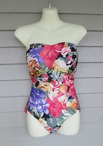 2e2db2ab0c Vintage Beach Bay Womens One-Piece Floral Strapless Swimsuit M 10/12 ...