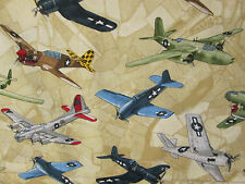VINTAGE PLANE AIRPLANES FIGHTER PLANES CREAM COTTON FABRIC FQ