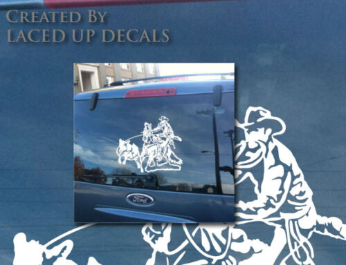Calf Roping vinyl decal,saddle,rope,belt buckle,cowboy up,stetson,steer,rodeo,lg