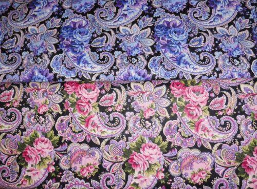 € 18//m² 0,3m rosas azul rojo en el cuerno de la abundancia 1,1m de ancho Patchwork de tela