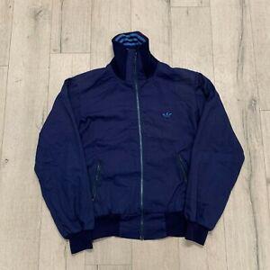 Adidas-Vintage-80s-Mens-Track-Jacket-Embroidered-Logo-Navy-Blue-Medium-M