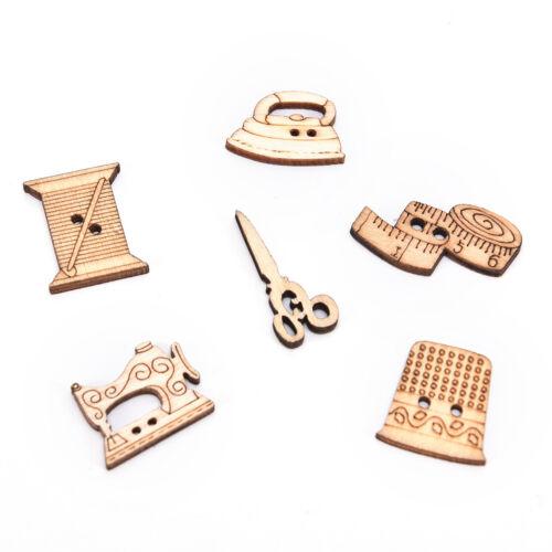 50x Nähen Werkzeug Holzknöpfe handgefertigt für die Dekoration Scrapbooking WH