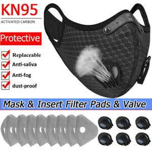 Reusable Washable Sport Face Mask W/ Breath valve& Replacement Insert Filter Pad