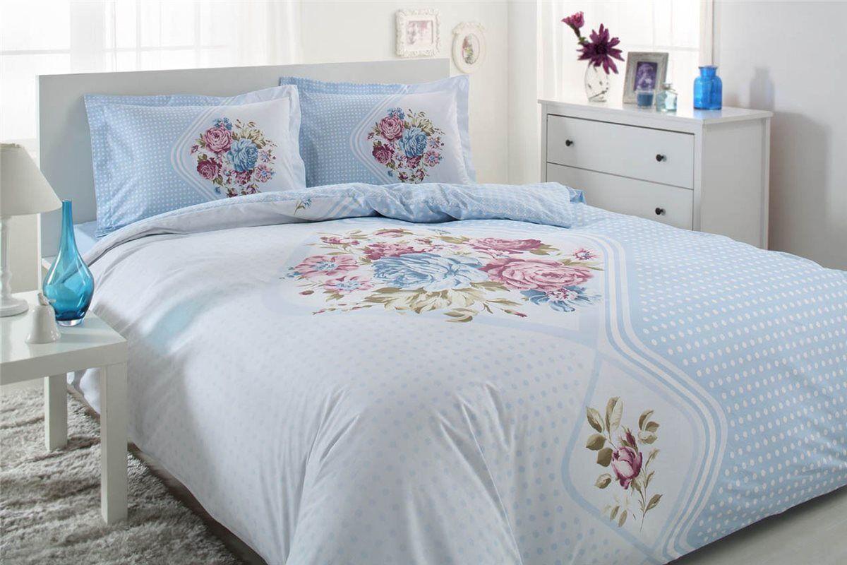 Bettwäsche 200x220 cm Bettgarnitur Bettbezug Baumwolle Kissen 4 tlg DORINE BLAU     Lebendige Form
