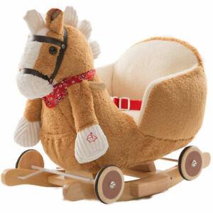 Cavallo a dondolo in legno con ruote Poni Cavalluccio Poltroncina Marrone Chiaro