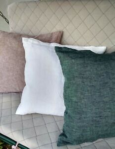 Linen-Pillowcase-Closure-Zippered-King-Body-size-White-Gray-Brown-Blue