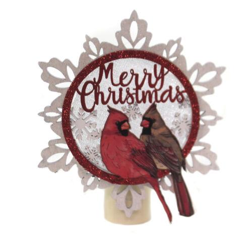 Christmas Cardinal Night Light Wood Snowflake Red Bird 133625