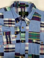 Orvis Mens Long Sleeve Shirt Size L Large Blue Plaid Cotton Button Down Collar