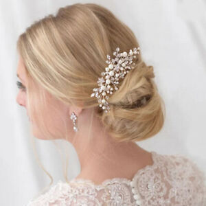 Crystal-Rhinestones-Pearl-Women-Hairpins-Bridal-Headpiece-Hair-Jewelry-AU