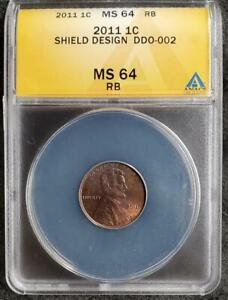 2011 Lincoln Cent Doubled Die Obverse ANACS Certified MS64RB - DDO-002