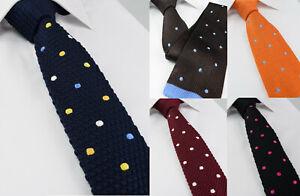 Mens Premium Polka Dot Skinny Tie Blue Red Slim 312