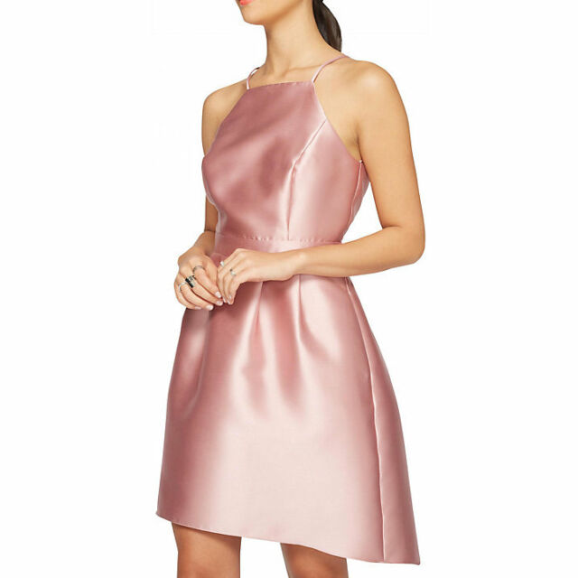 Miss Selfridge Bandeau Dip Hem Prom Dress Pink Size Uk 14 Sa172 Gg