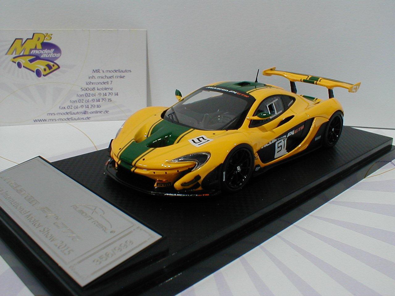 barato y de alta calidad Almost real 440102-mclaren p1 GTR nº nº nº 51 Geneva internamente. show 2015 amarillo 1 43  soporte minorista mayorista