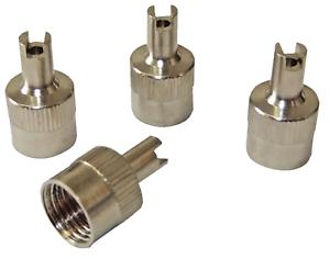 4-x-Quality-Silver-Metal-Schrader-Tyre-Dust-Caps-Car-Bike-Van-Valve-Remover-Tool