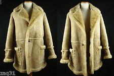 Vintage Mac Mor Shearling Sheepskin Leather Marlboro Ranch Coat Jacket Fits 42