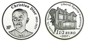 1 1/2 Silver Euro France Argent/francia. 2007. Christian Dior Museum. Proof. Les Clients D'Abord