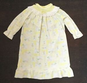 bcc2b695e750 Vtg Carters Baby Girl Doll 24M Nightgown Yellow Bunny Rabbits Easter ...