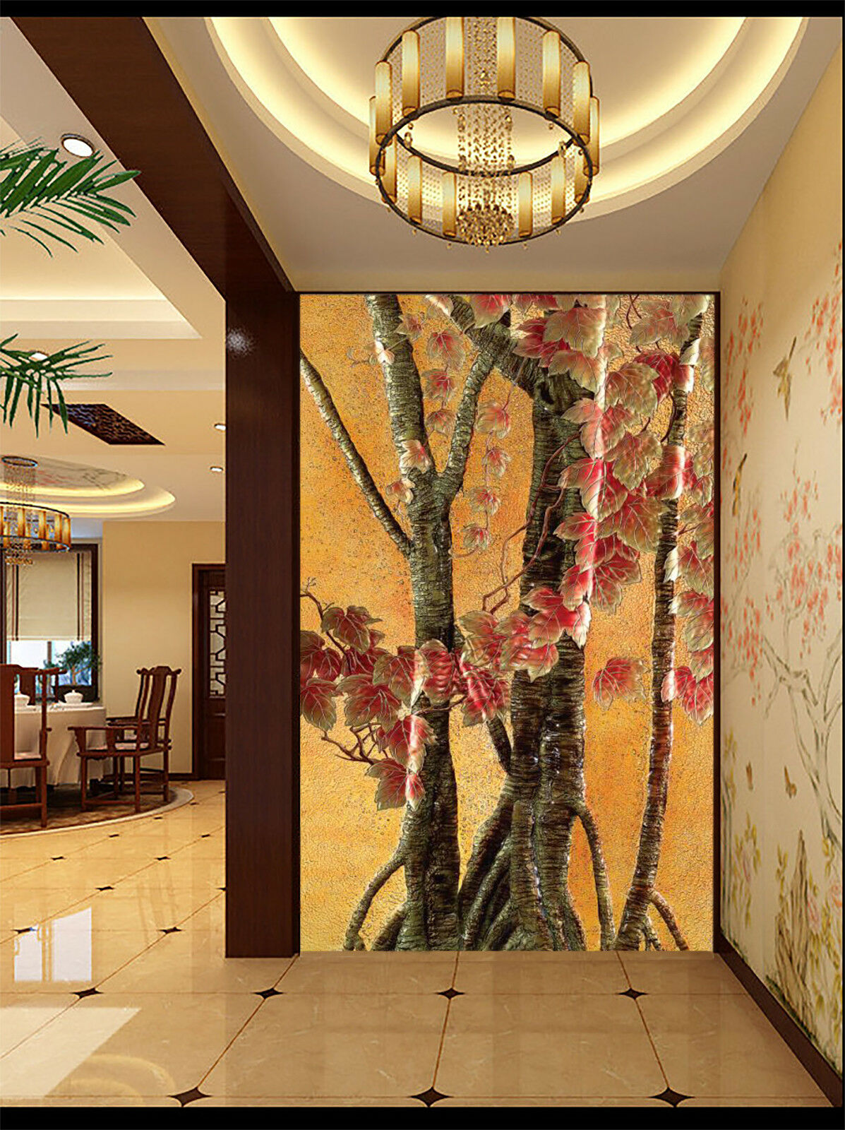 3D Tree ROT Flowers 837 Wallpaper Mural Paper Wall Print Wallpaper Murals UK