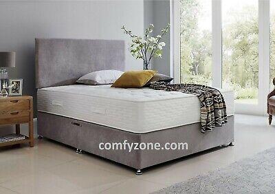 Grey Or Silver Soft Velvet Fabric Divan Bed Base 3ft