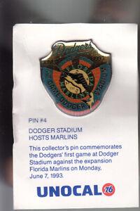 VINTAGE-L-A-DODGERS-UNOCAL-PIN-UNUSED-1ST-GAME-DODGER-STADIUM-JUNE-7-1993