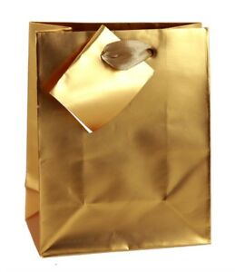 Party Paper Gold Or Silver Foil Gift Bags With Handles Wedding Birthday Party
