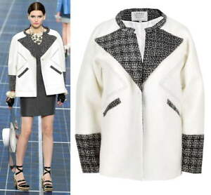 Design-Black-Lapel-White-Mono-Two-Tone-Tweed-Jacket-Cocoon-Loose-Fall-Coat