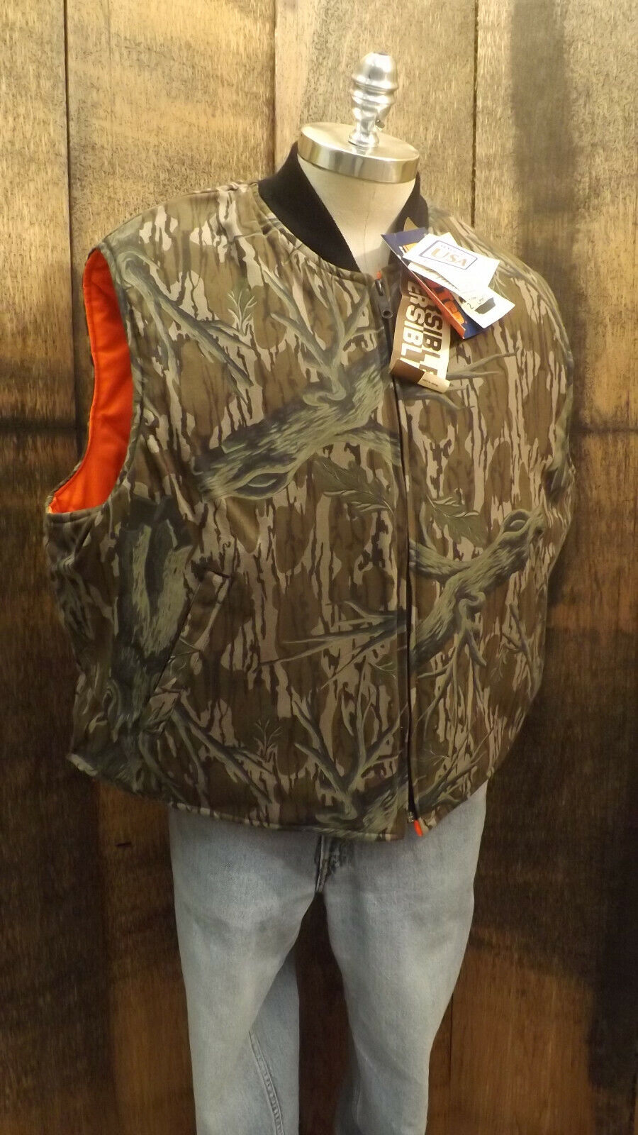 Vtg NEW Mossy Oak Tree Stand Camo Reversible   Vest Johnson Garment 2XL USA  the classic style