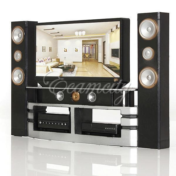 Hi-Fi TV Cabinet Set Combo for Blythe Barbie Doll's House Furniture Cool Black