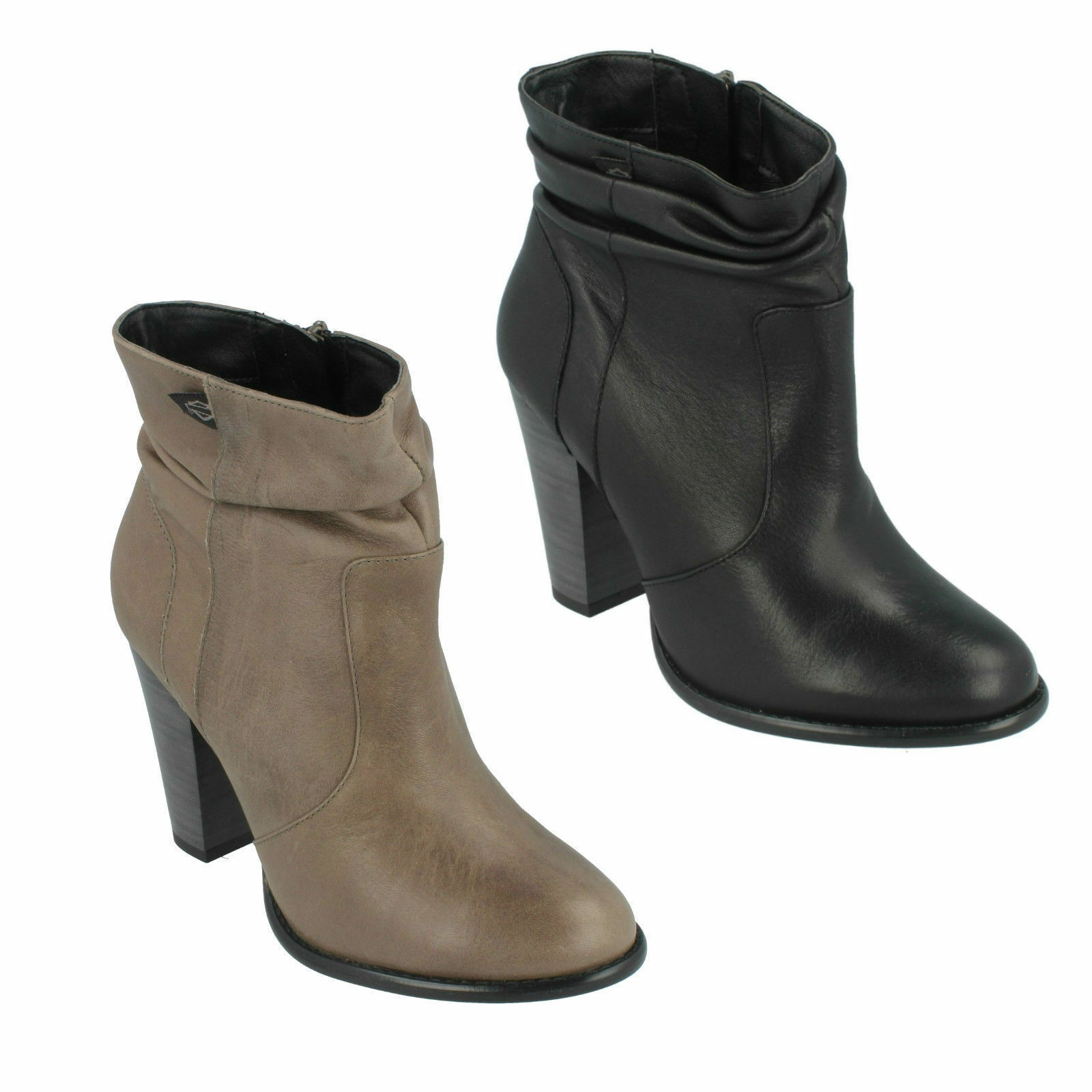 LADIES HARLEY DAVIDSON LEATHER CASUAL HIGH HEEL BIKER ANKLE BOOTS STONEBROOK