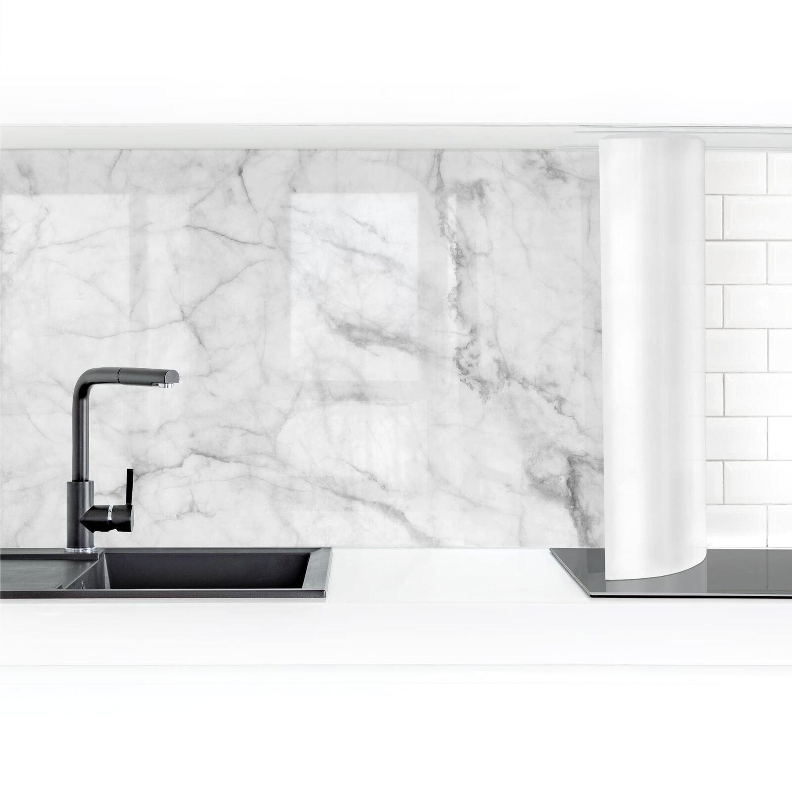 Küchenrückwand Bianco Carrara Folie selbstklebend Länge wählbar Spritzschutz