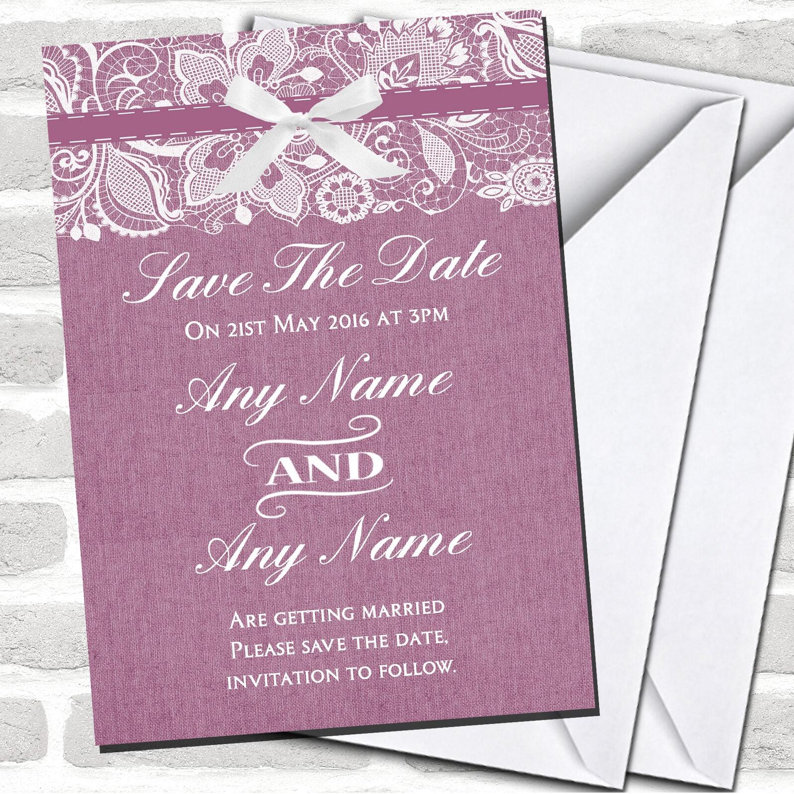 Vintage Plum lila Burlap & Lace Wedding Save The Date Cards