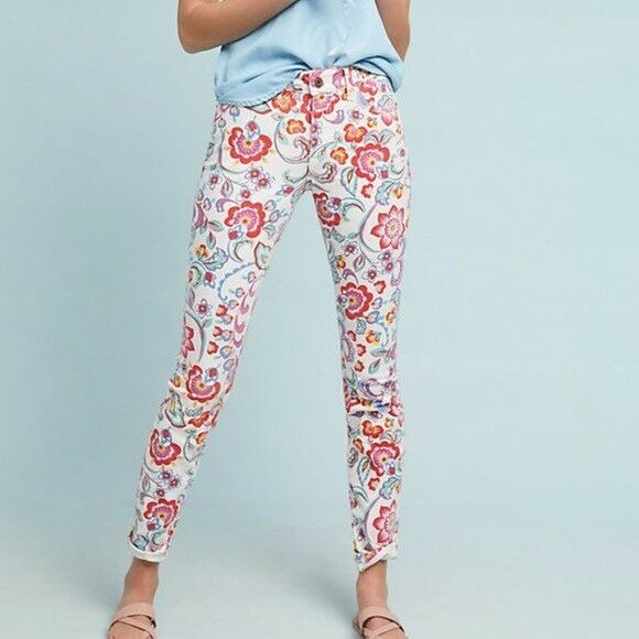 NWT Anthropologie Pilcro Floral Mid-Rise Skinny Ankle Denim Pants Jeans 25