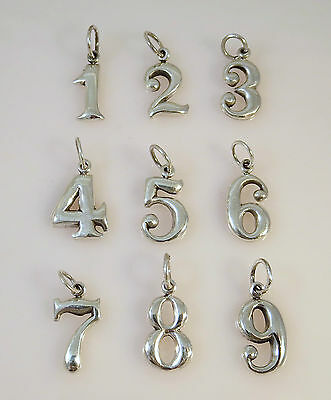 .925 Sterling Silver Lucky Number 1 2 3 4 5 6 7  9 Zero Pendant NEW set of 16