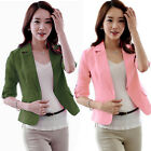 Hot Lady Lapel One Button Suit Blazer 3/4 Sleeve Short OL Jackets Coat Outerwear