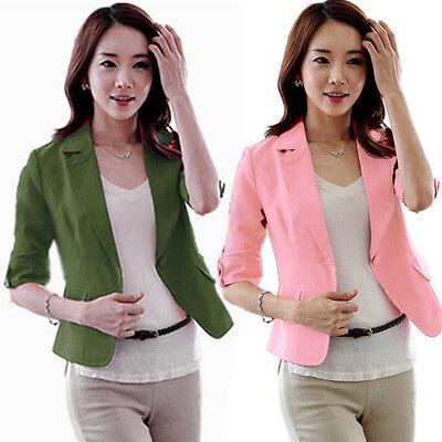 Hot Lady Lapel One Button Suit Blazer 3/4 Sleeve Short OL Jackets Coat Outerwear