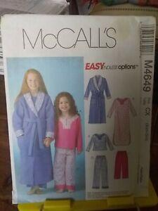 Oop-Mccalls-easy-4649-girls-sleepwear-pjs-nightdress-robe-sz-3-6-NEW