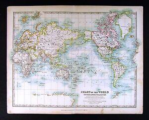 1906 johnston royal atlas map world steamboat routes ocean image is loading 1906 johnston royal atlas map world steamboat routes gumiabroncs Gallery