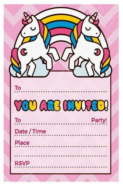 1 X UNICORN GIRLS CHILDRENS BLANK DIY BIRTHDAY INVITATIONS FREE MAGNETS