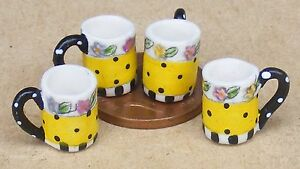 1-12-Scale-4-Yellow-Patterned-Ceramic-Mugs-Dolls-House-Miniature-Accessory-W