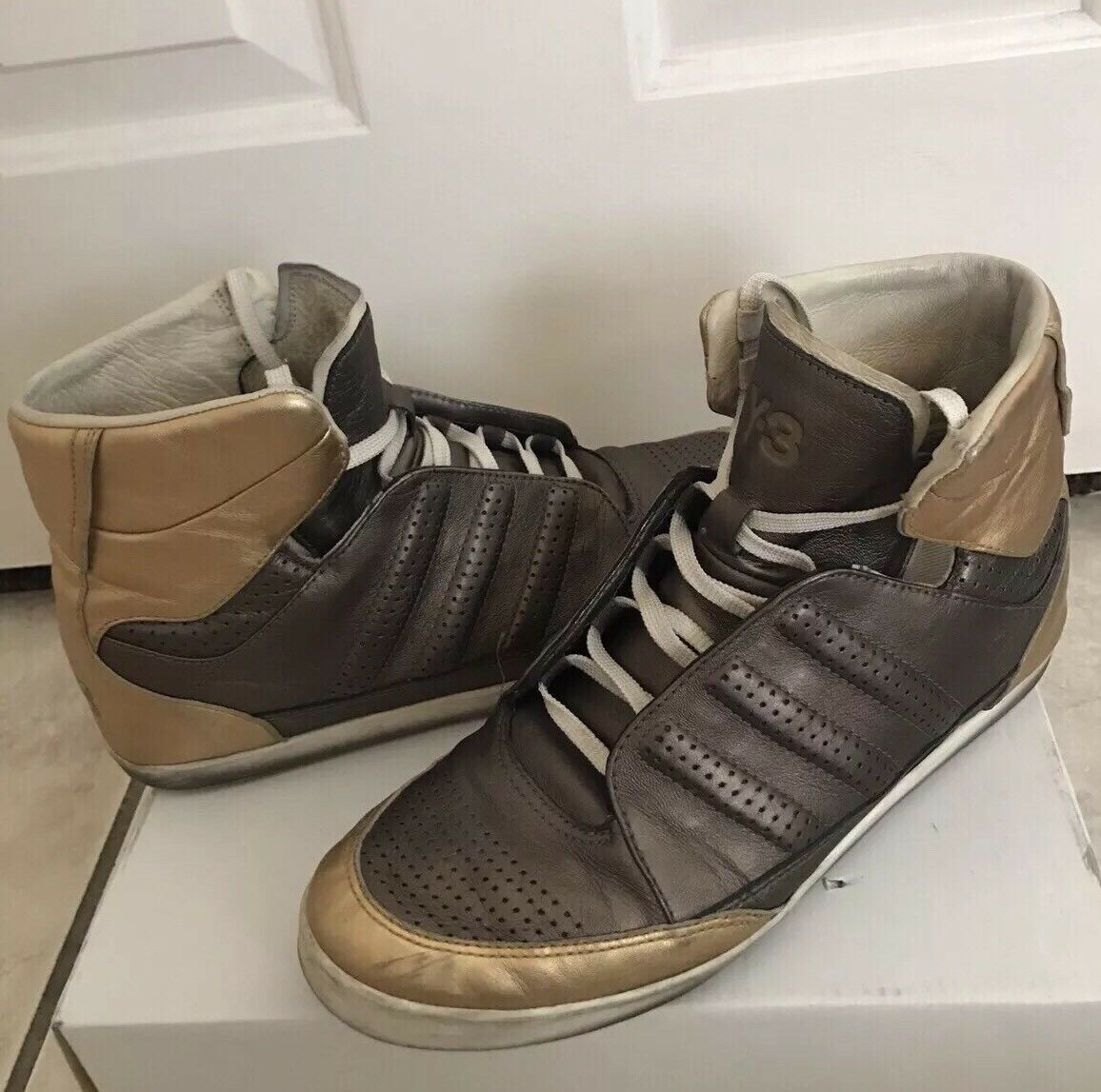 Y-3 Adidas Shoes Yohji Yamamoto Metallic Pelle Lace Up High Top   7.5