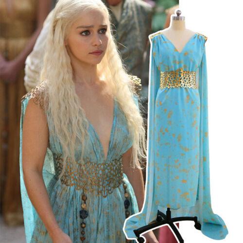 Game of Thrones Daenerys Targaryen Costume Cosplay Wig Fancy Dress Halloween UK