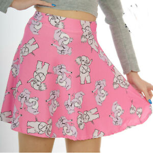 PINK-WITH-GREY-ELEPHANTS-SKATER-MICRO-MINI-SKIRT-ALTERNATIVE-GOTH-SIZE-8-18