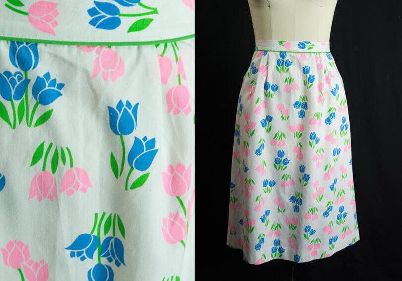 Vintage Tulip Print Skirt SweetNovelty Print Past… - image 1