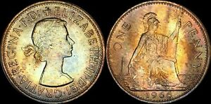 1966-GREAT-BRITAIN-ONE-1-PENNY-ELIZABETH-II-BEAUTIFUL-COLOR-TONED-IN-HIGH-GRADE