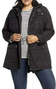 NEW Barbour Arrow Quilted Hooded Anorak Coat Jacket Black ...