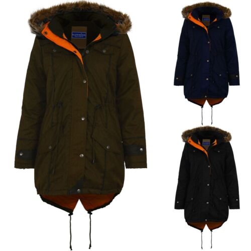 Women/'s Quilted Warm Winter Coat Ladies Faux Fur Hooded Fishtail Parka Jacket