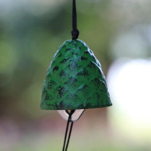 Japanese Furin Wind Chime Nambu Cast Iron Iwachu Green Pine Cone Wind Bell Green