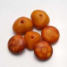 WS192 Nepalese Tibetan Yellow Resin 6 Beads Wholesale lot by Eksha